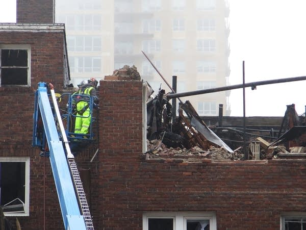 Demolition work is underway at the fire-damaged Francis Drake Hotel