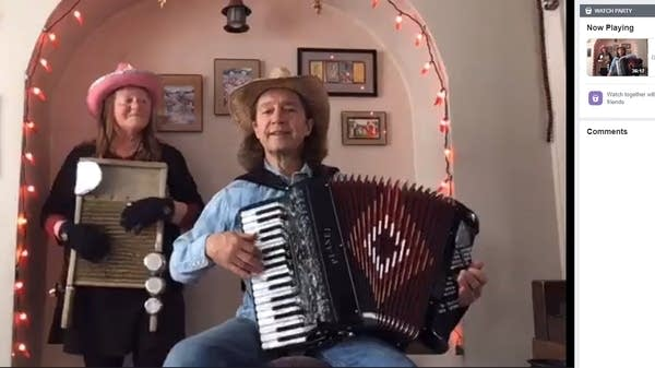 A woman and man perform a concert on a live video stream.