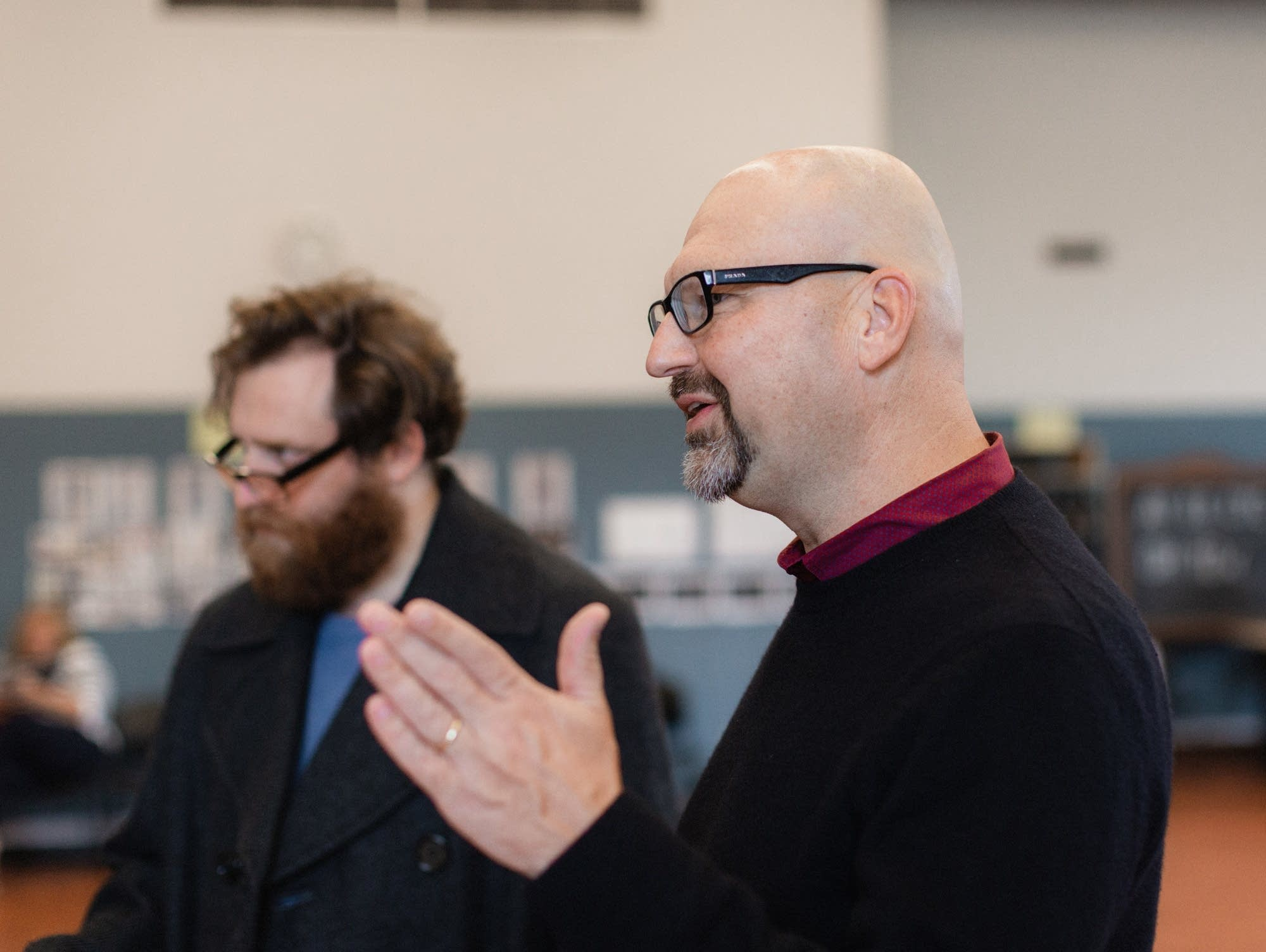 Zachary Fine (left) and Rob Melrose in rehearsal.