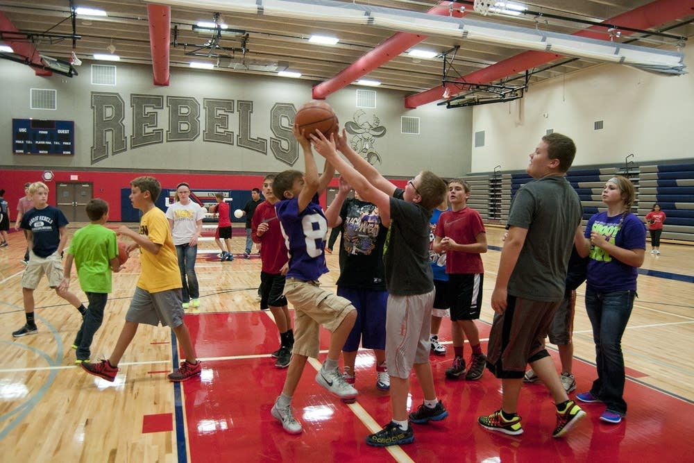 Students play in the gymnasium