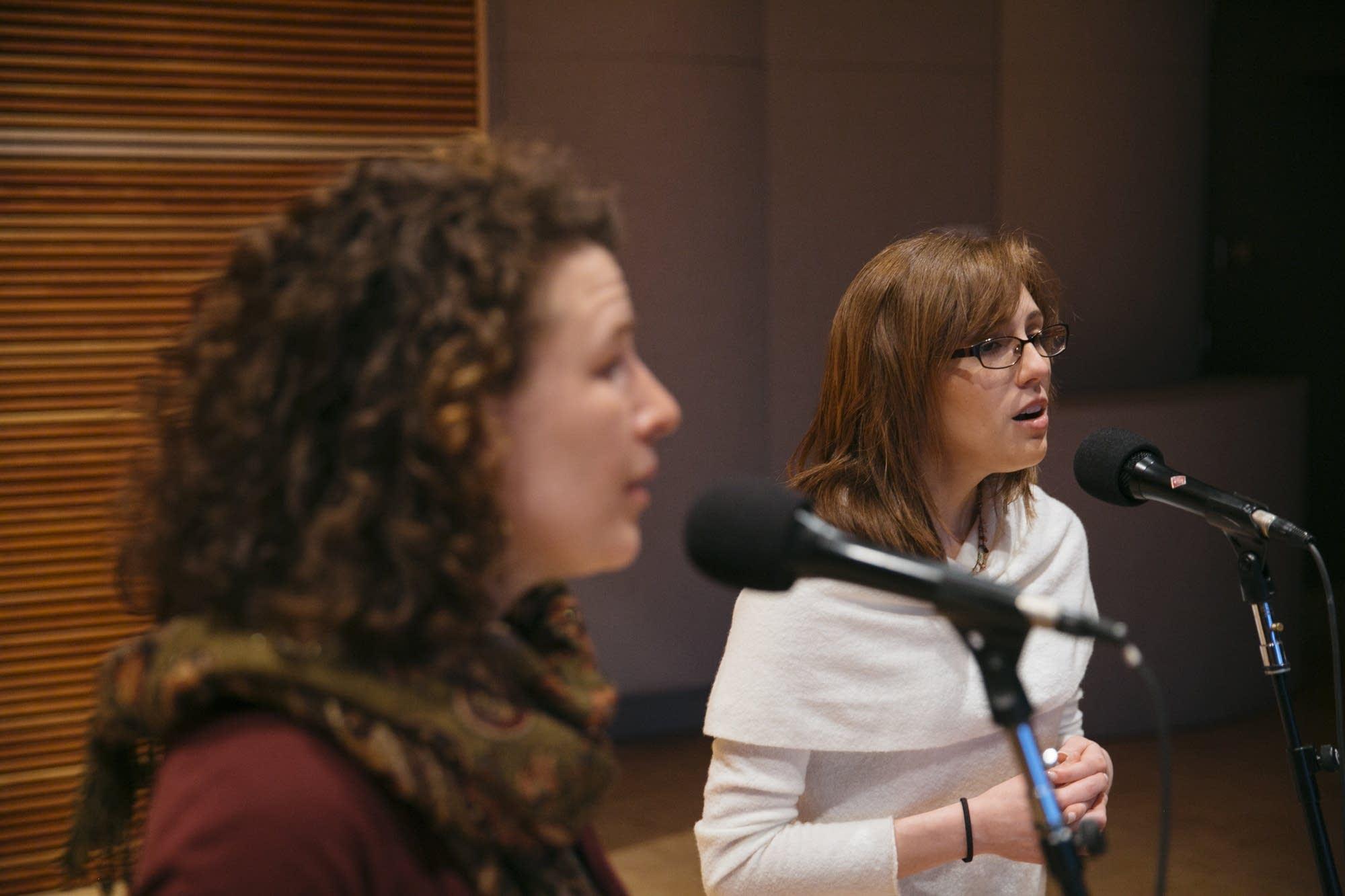 Rachel LaViola sings alongside Sarah Larsson in the Nightingale Trio