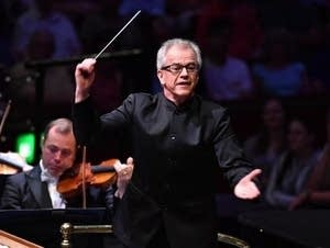 Osmo Vanska conducts at the 2018 BBC Proms