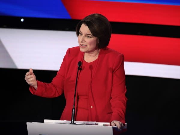 Amy Klobuchar speaks during the primary debate in Des Moines, Iowa