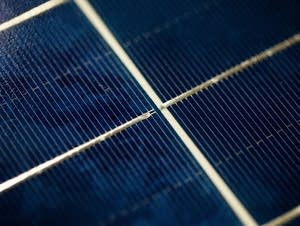 A close-up of a completed solar panel.