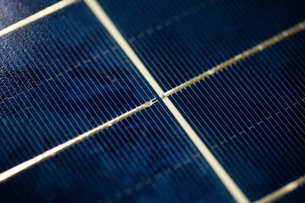 A closeup of a completed solar panel.