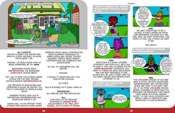 Two pages from the graphic novel created by artist Mychal Batson.