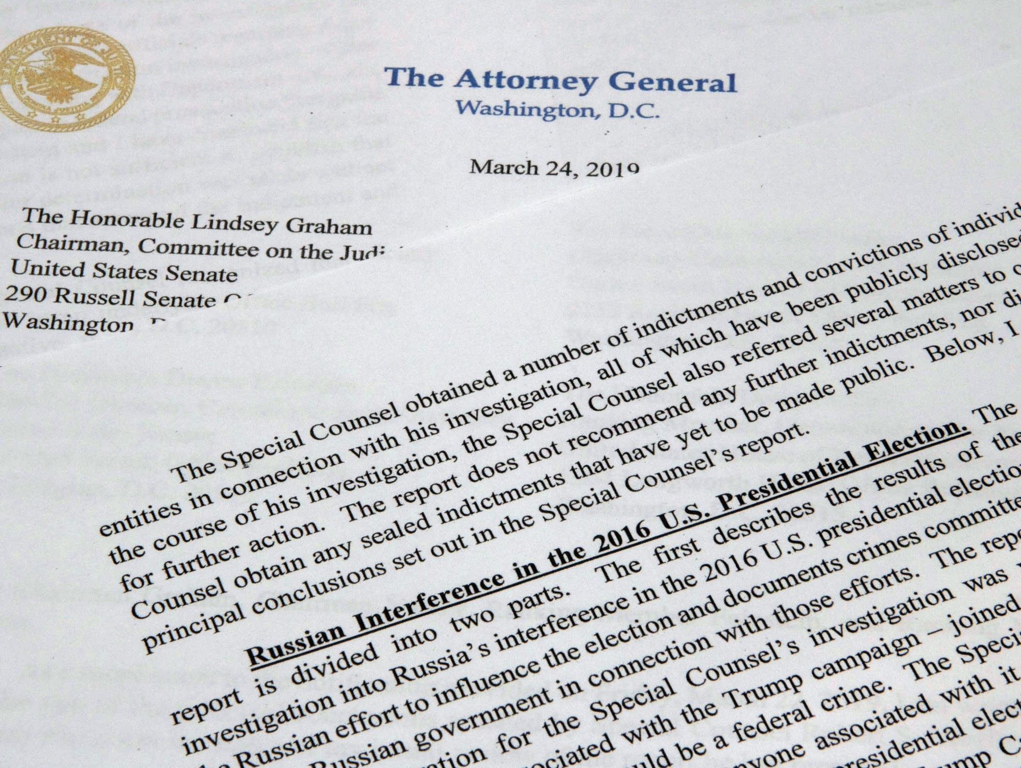 The letter from Attorney General William Barr to Congress