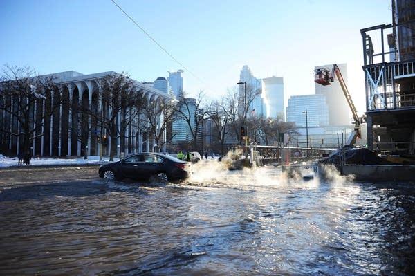 Car navigates high water