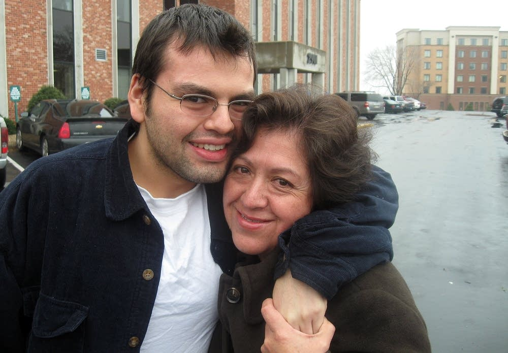 David Soto with his mother in 2009