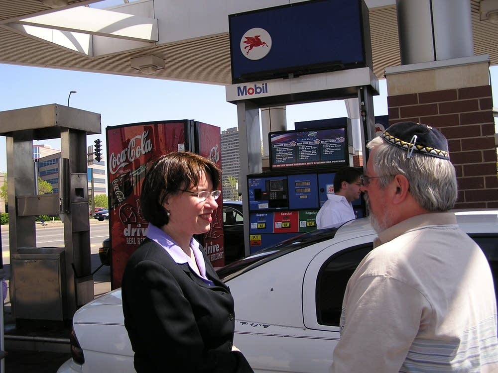 Klobuchar talking high gas prices