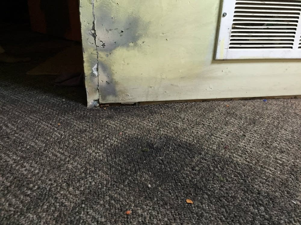 Burned carpet from smoke grenade