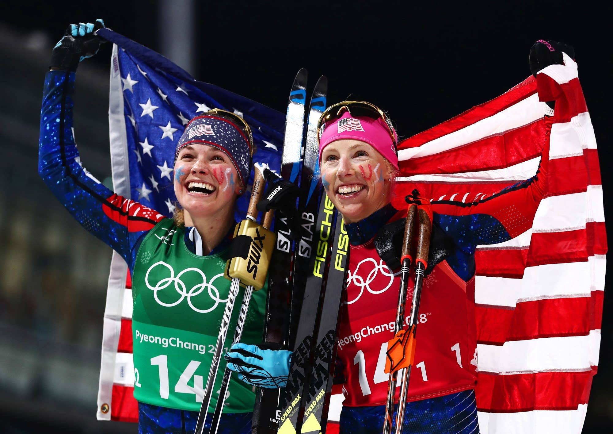 Americans Jessie Diggins, left, and Kikkan Randall win cross-country gold.