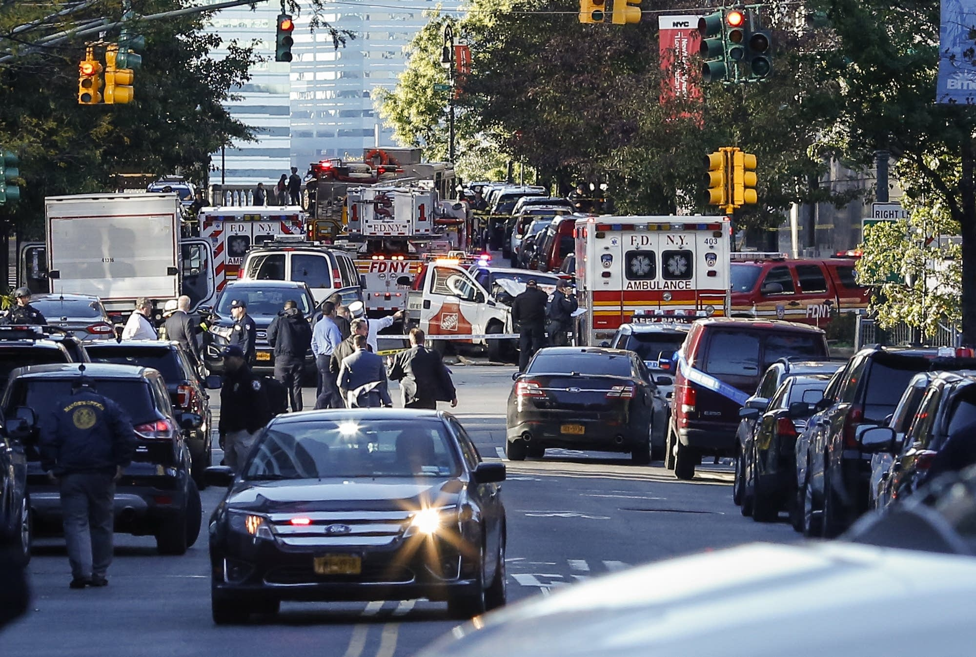 Emergency personal respond after a truck attack in New York