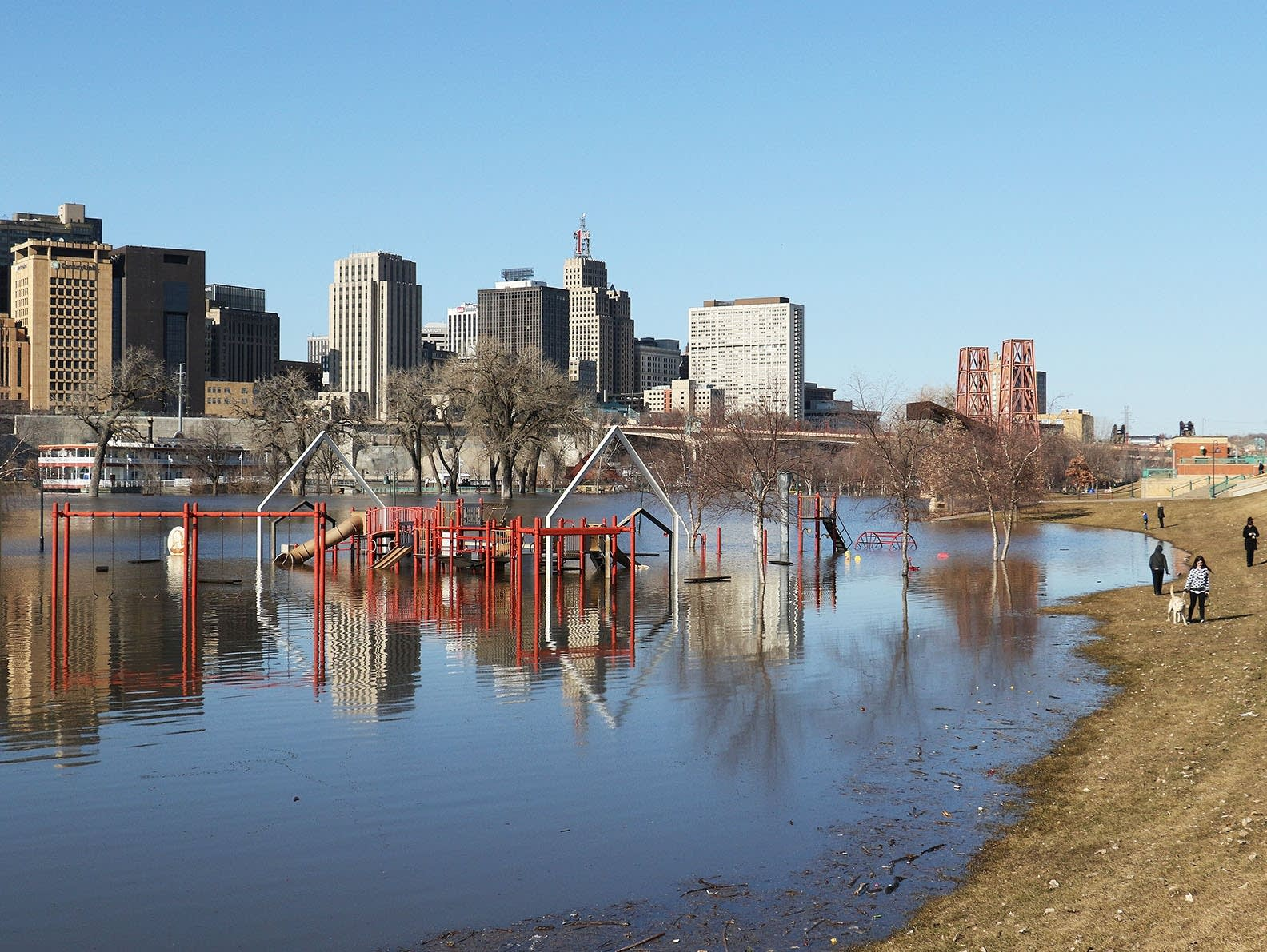 A playground is flooded by the Mississippi River at Harriet Island