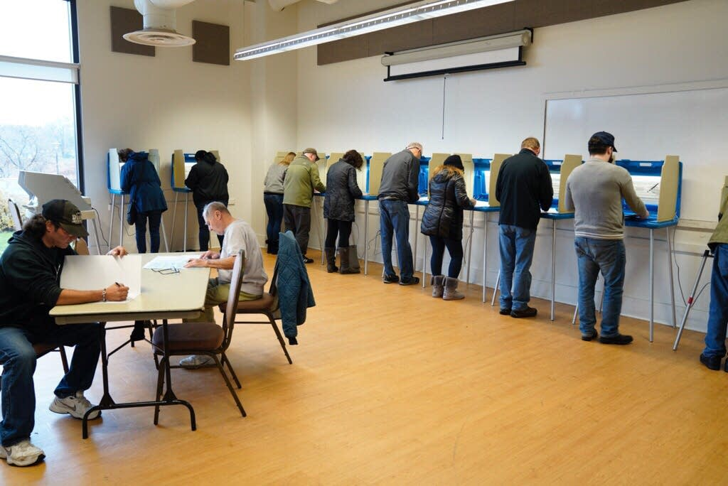 People vote at Bloomington City Hall.