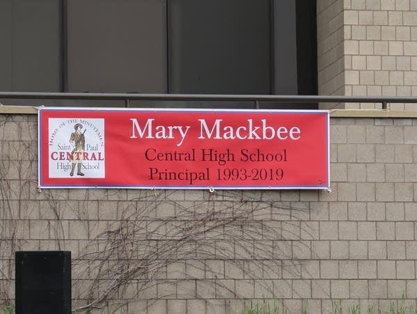 A sign at St. Paul Central congratulates Principal Mary Mackbee