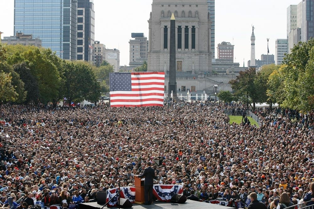 Barack Obama addresses a crowd in Indiana