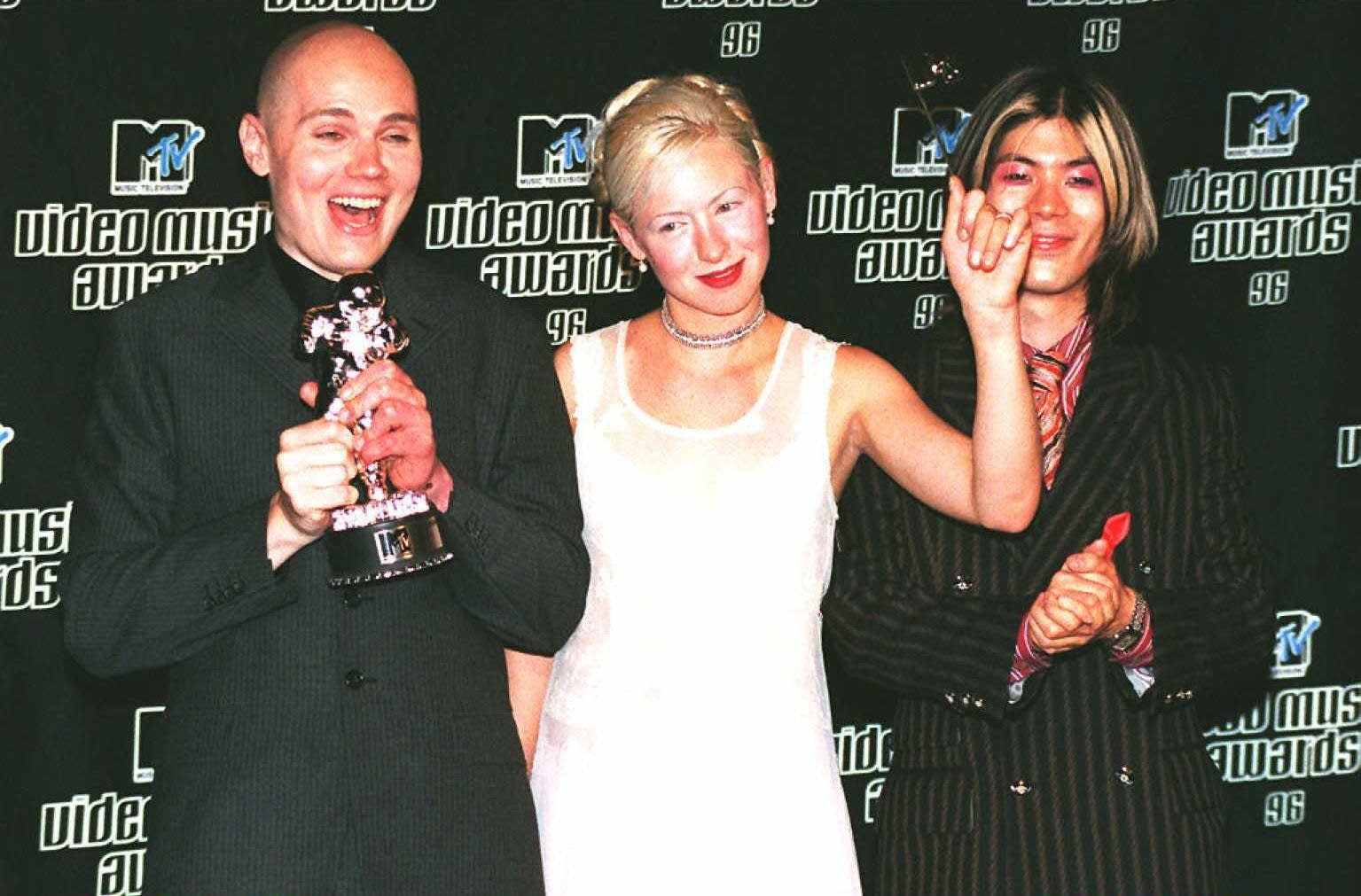 Smashing Pumpkins at the MTV Video Music Awards in 1996.