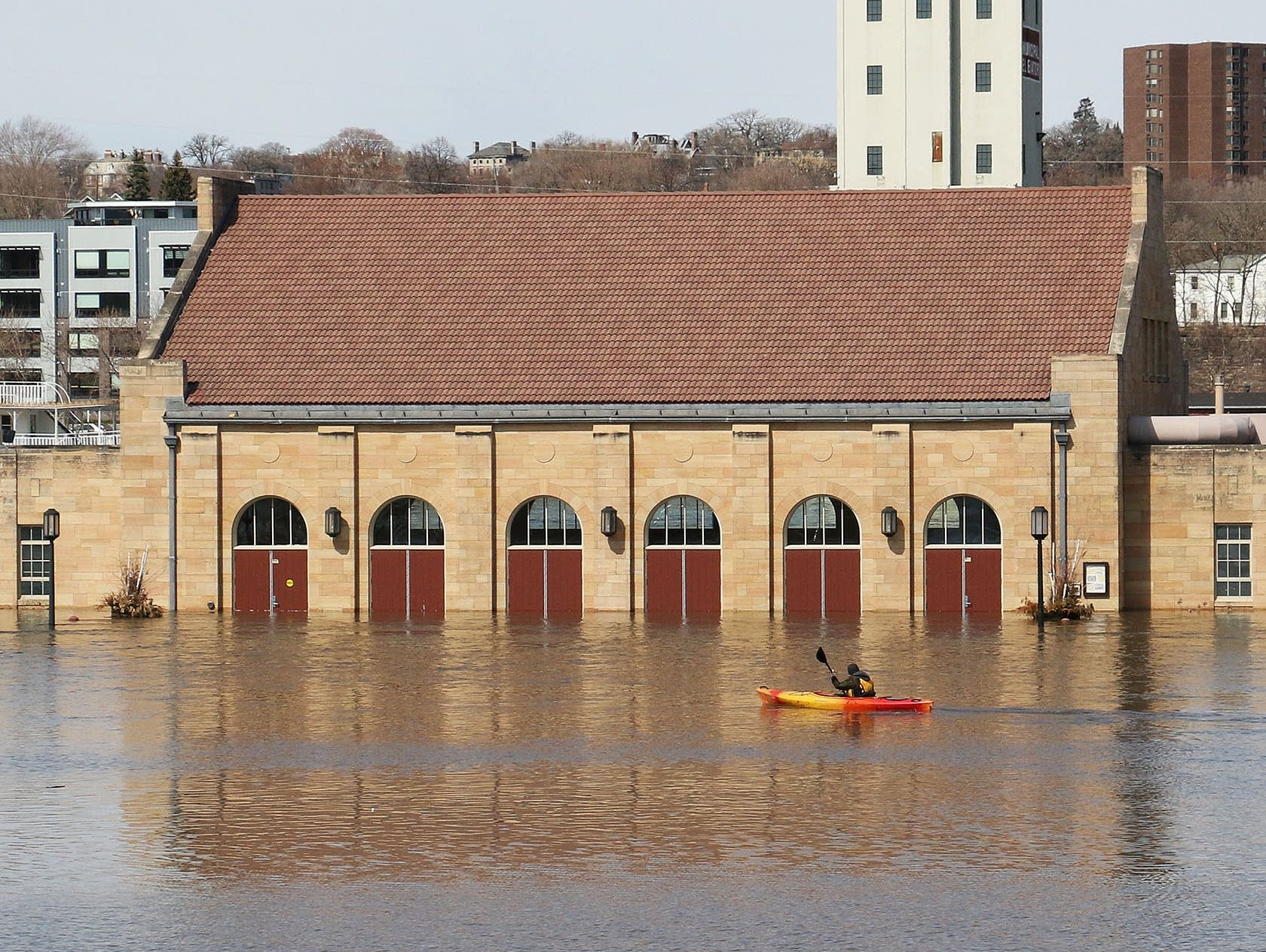 Conor Rose of St. Paul paddles his kayak