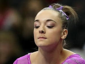 Maggie Nichols of the United States competes on the beam in 2016.