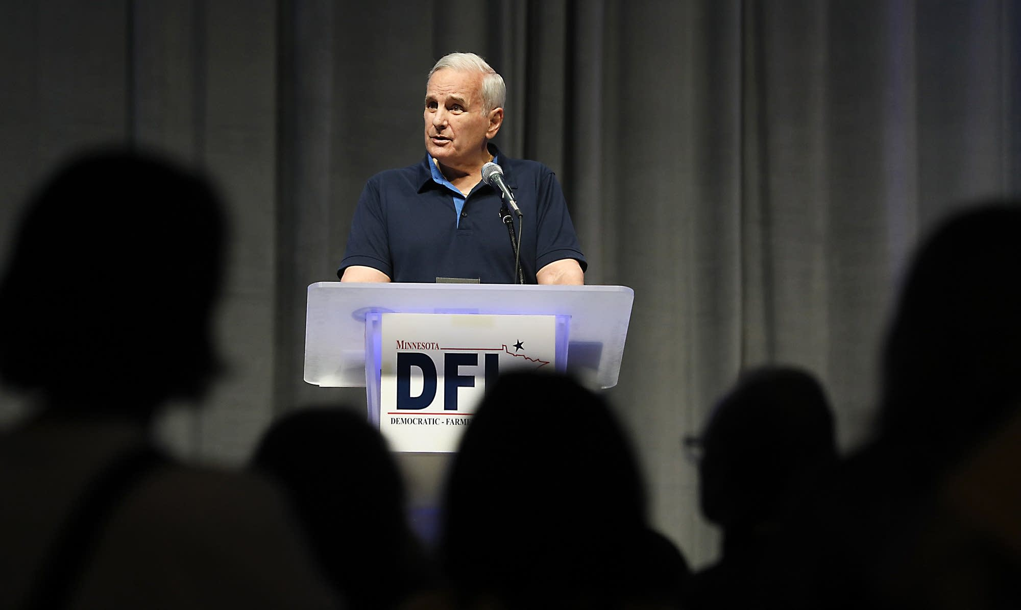 Gov. Mark Dayton speaks Saturday afternoon at the state DFL convention.