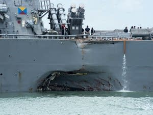 Damage to the portside of the USS John S. McCain.