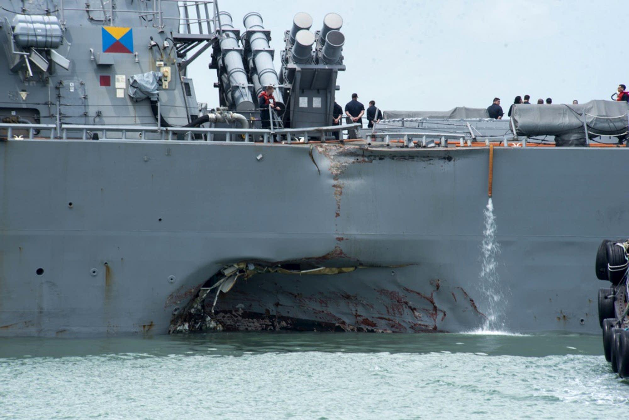 Damage to the portside of the USS John S. McCain.