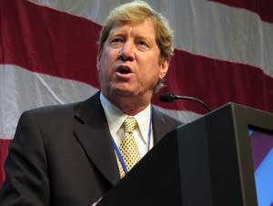 Jason Lewis addressing the GOP state convention.