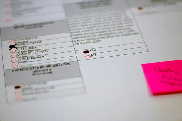A ballot challenged by the Franken campaign