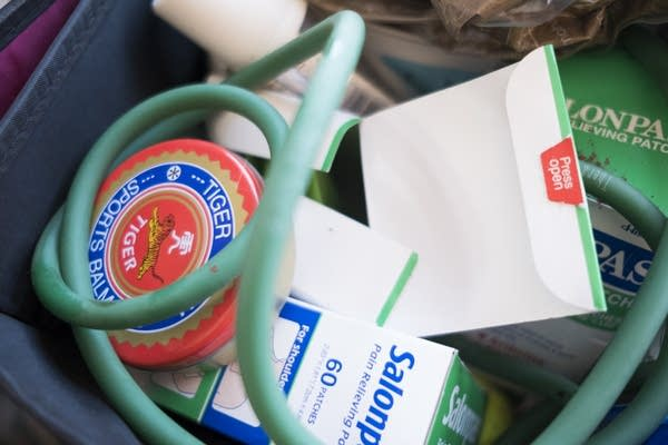 Two baskets are filled with a variety of remedies