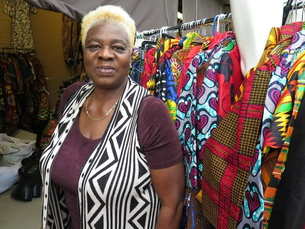 woman with textiles at the state fair