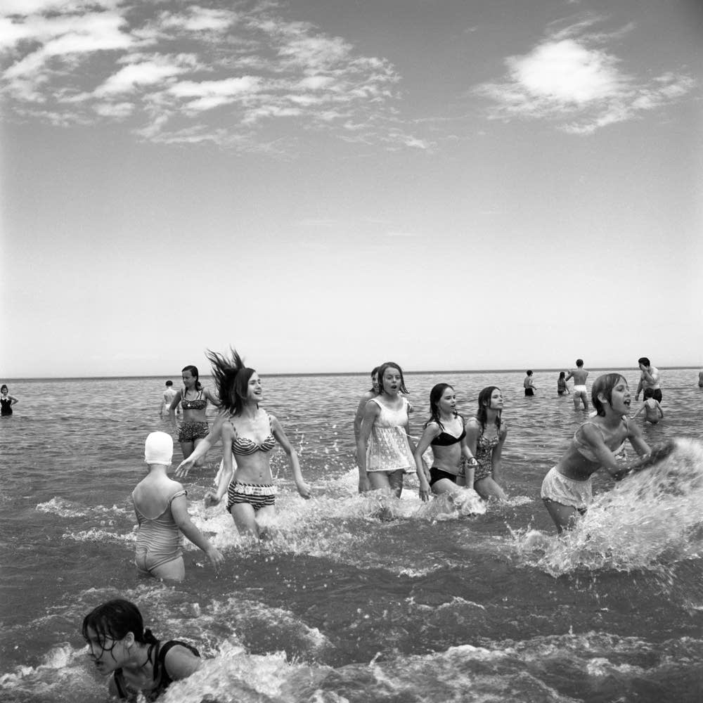 Girls Wading in Lake Michigan