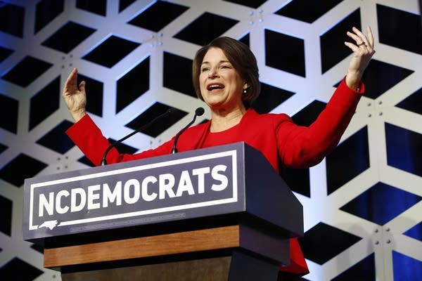 Amy Klobuchar at a campaign event