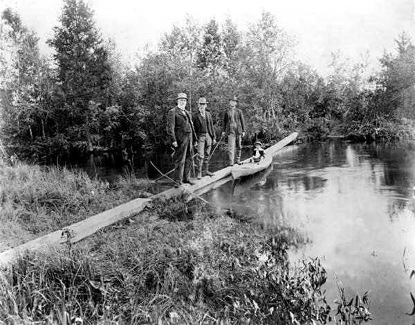Foot log crossing Mississippi River at Lake Itasca in 1901.