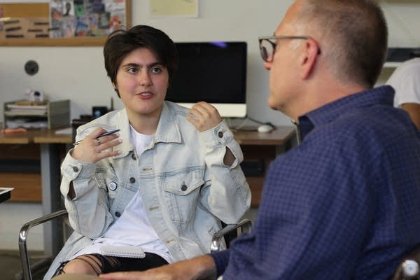 Radio Camp reporter Francisca Aravena speaks editor Bill Wareham