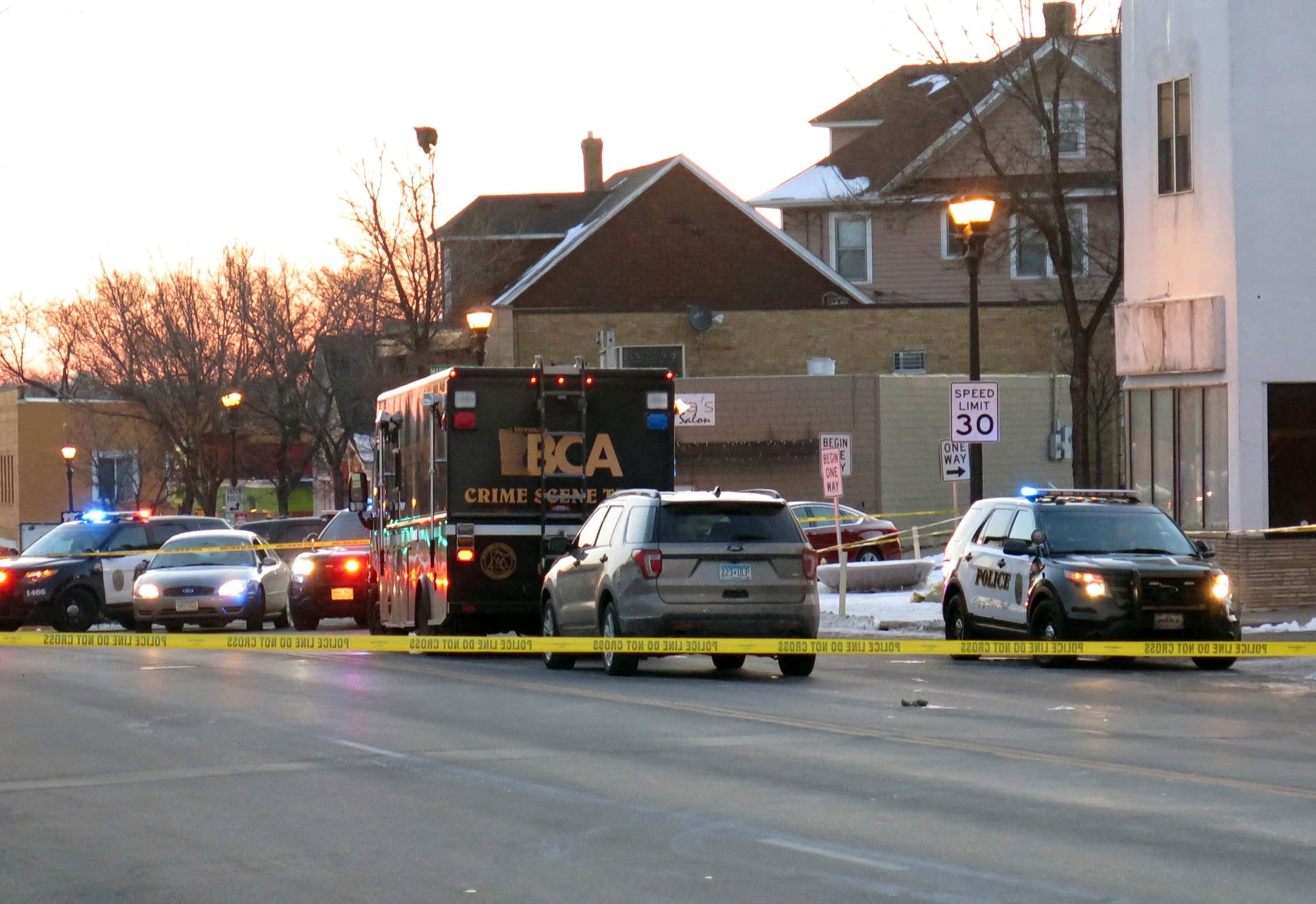 The scene of a shooting on East Seventh Street in St. Paul