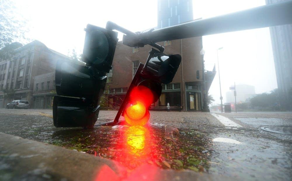 Fallen streetlight