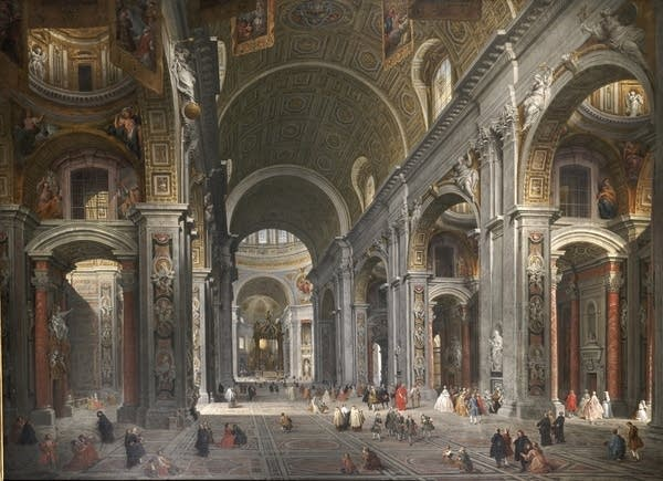 """""""Interior of St. Peter's with the Visit of the Duc de Choiseul"""""""