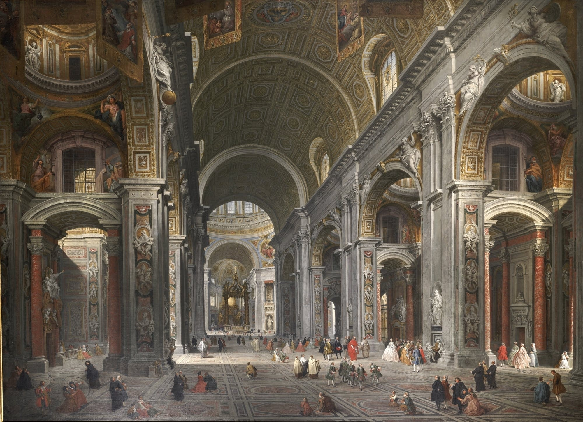 """Interior of St. Peter's with the Visit of the Duc de Choiseul"""