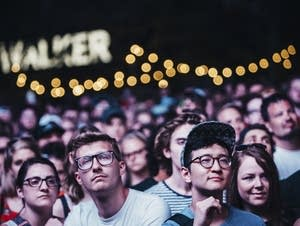 The crowd watches Bon Iver.