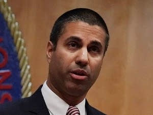 FCC Chairman Ajit Pai speaks to members of the media.