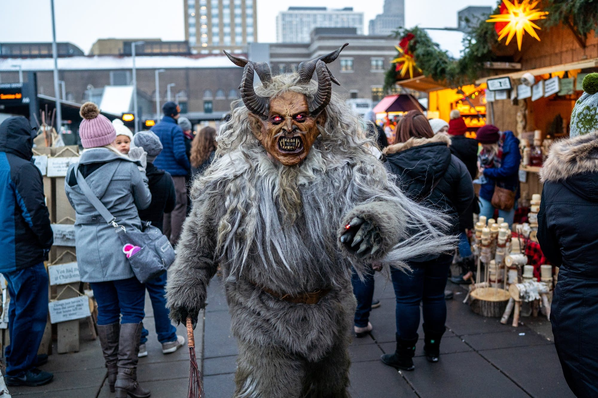Ross Otto dressed at Krampus, patrols the Christmas Market.