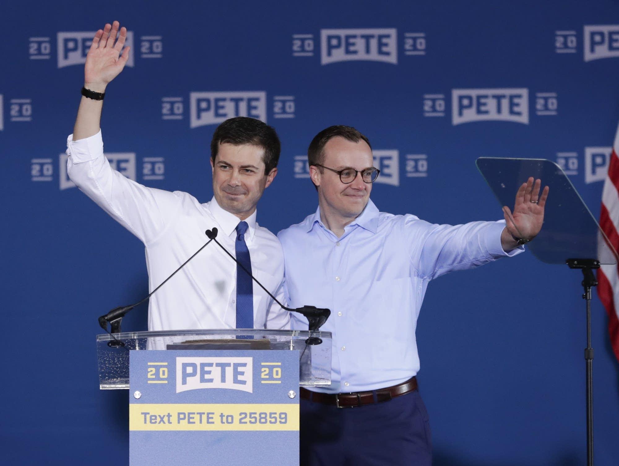 Pete Buttigieg is joined by his husband Chasten Buttigieg