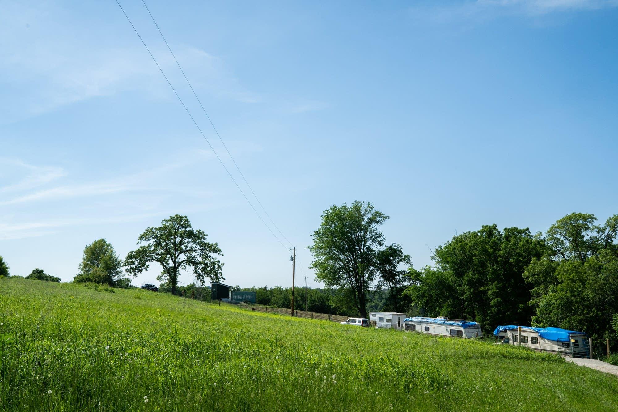 The hemp farm 5th Sun Gardens can be seen from the road.