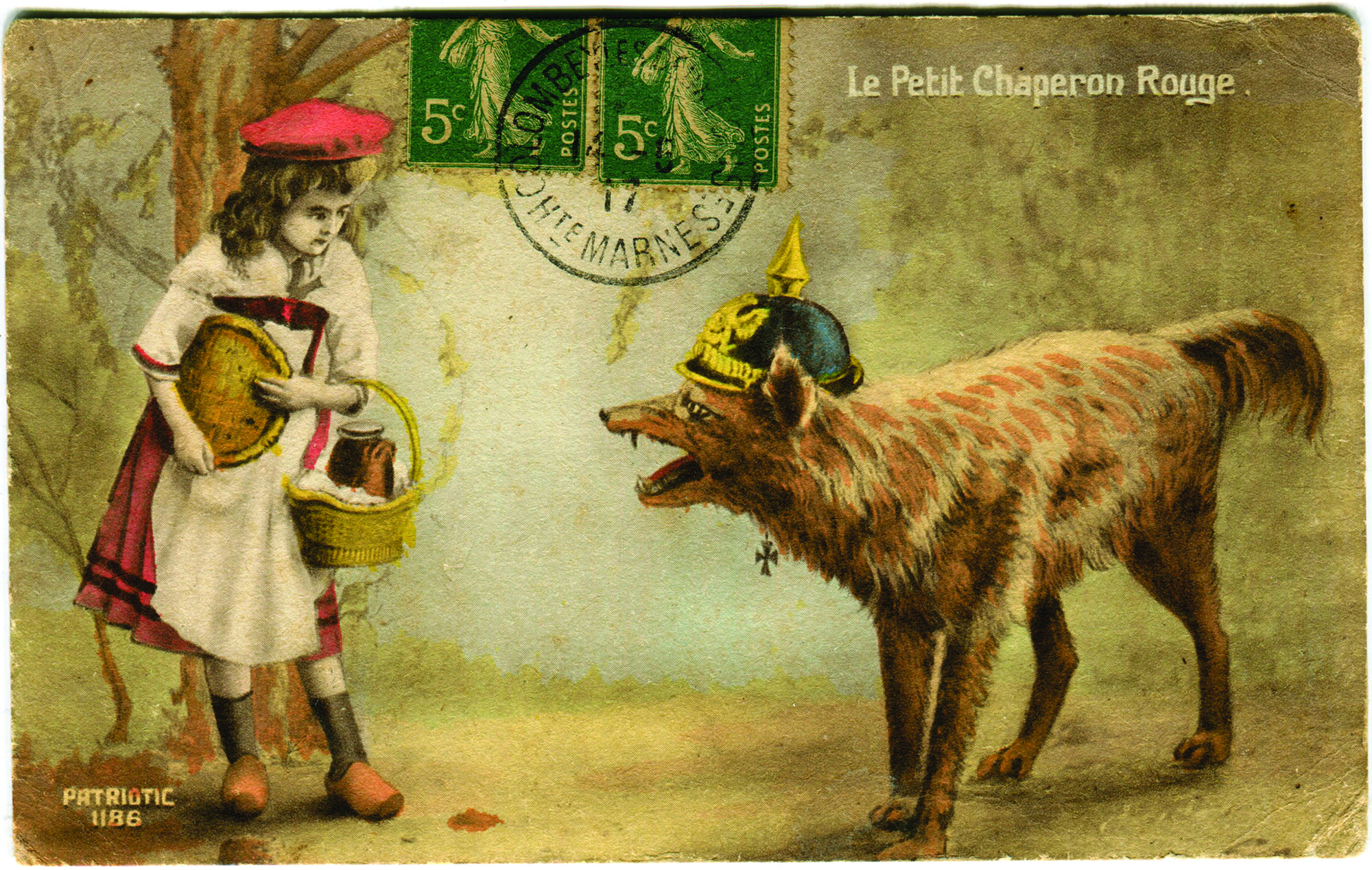 Post card depicting Little Red Riding Hood from 1919.