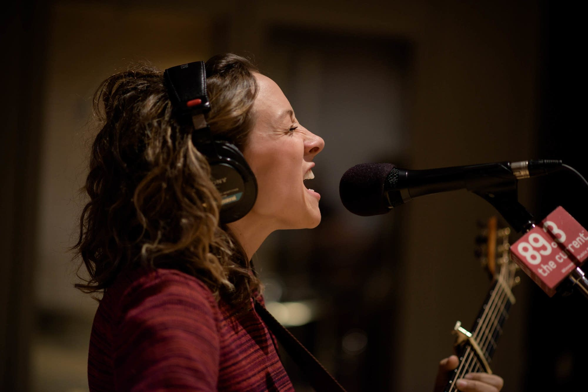 Emily Frantz of Mandolin Orange in studio