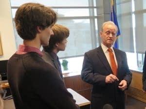 Sen. Warren Limmer talked to high school students