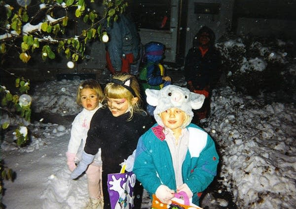 Trick-or-treating during the Halloween blizzard