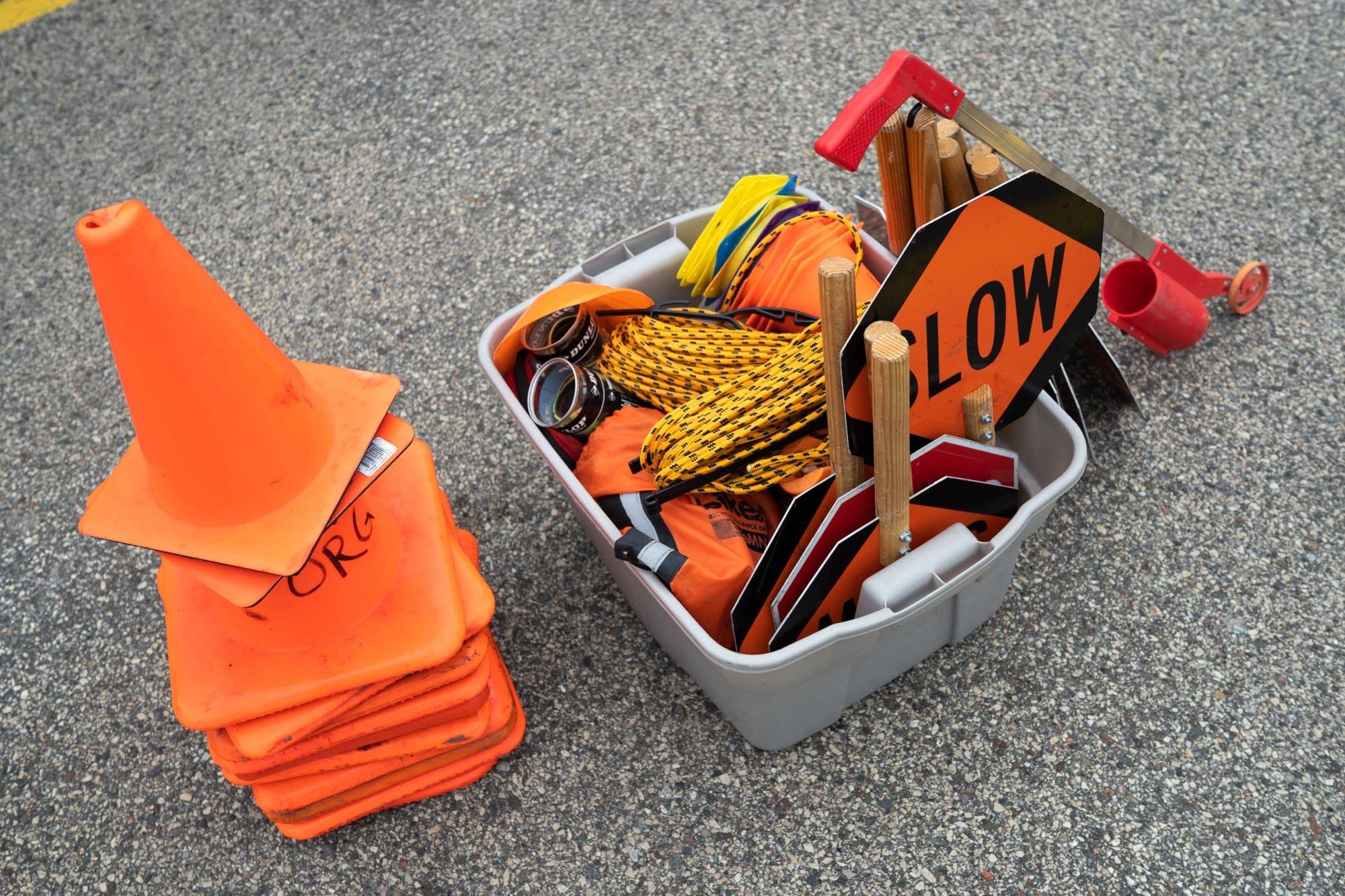 Materials used to run a Walk! Bike! Fun! training sit in a bin.