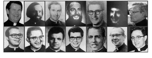 Photo grid of priests from archdiocese's list